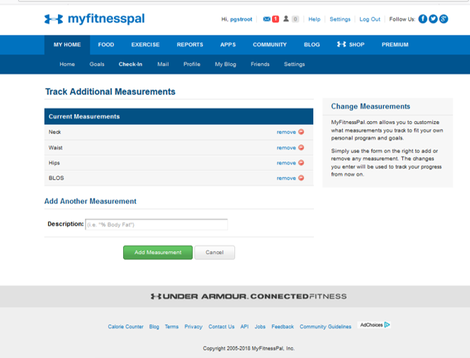 MyFitnessPal track additional measurements